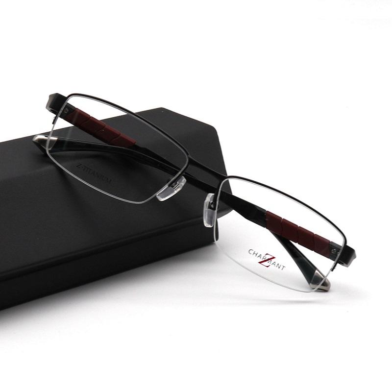 亮点 Charmant眼镜框男时尚超轻Z钛商务半框新ZT19836夏蒙眼镜架