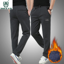 Mens trousers autumn and winter thick section of sports pants mens large size fleece sweatpants youth straight plus velvet casual pants tide