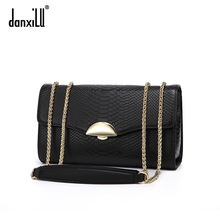 Danxilu brand women's bag 2018 new chain small square bag women's fashion snake grain cowhide one shoulder slant across the bag trend