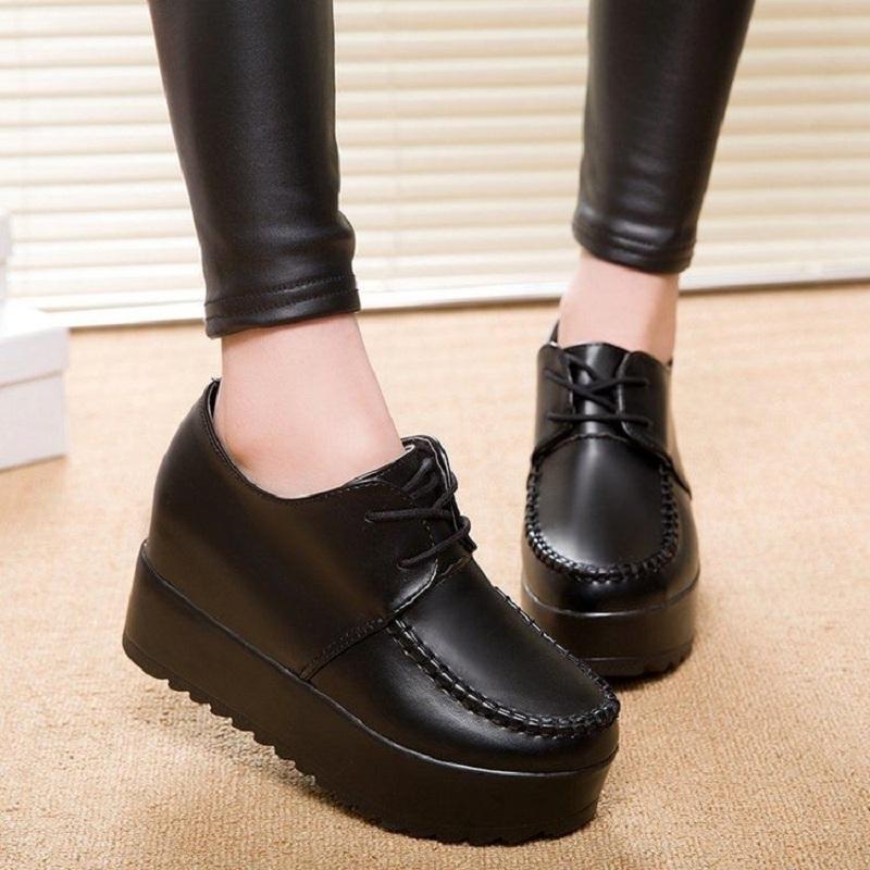 厚底松糕鞋坡跟小皮鞋2019秋冬内增高英伦学院风布洛克女加绒单鞋