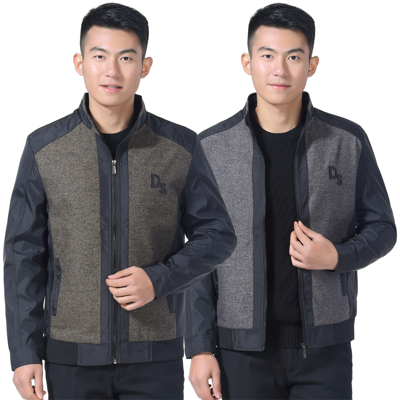 Mens vertical collar zipper jacket autumn and winter middle aged and old mens business casual coat loose stitching enlarged top