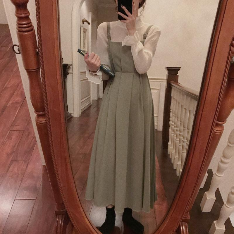 Korean autumn new style retro elegant temperament high waist show thin pleated skirt strap long dress