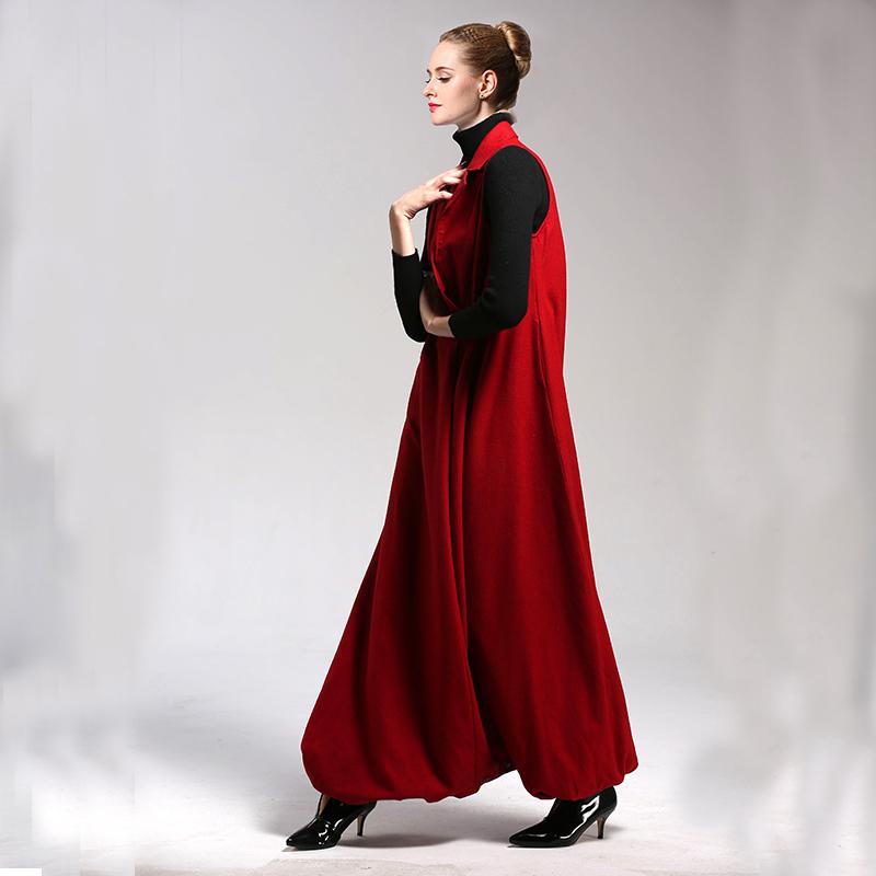2020 woolen dress autumn and winter loose show thin Tibetan meat super swing temperament sleeveless vest skirt one piece skirt pants