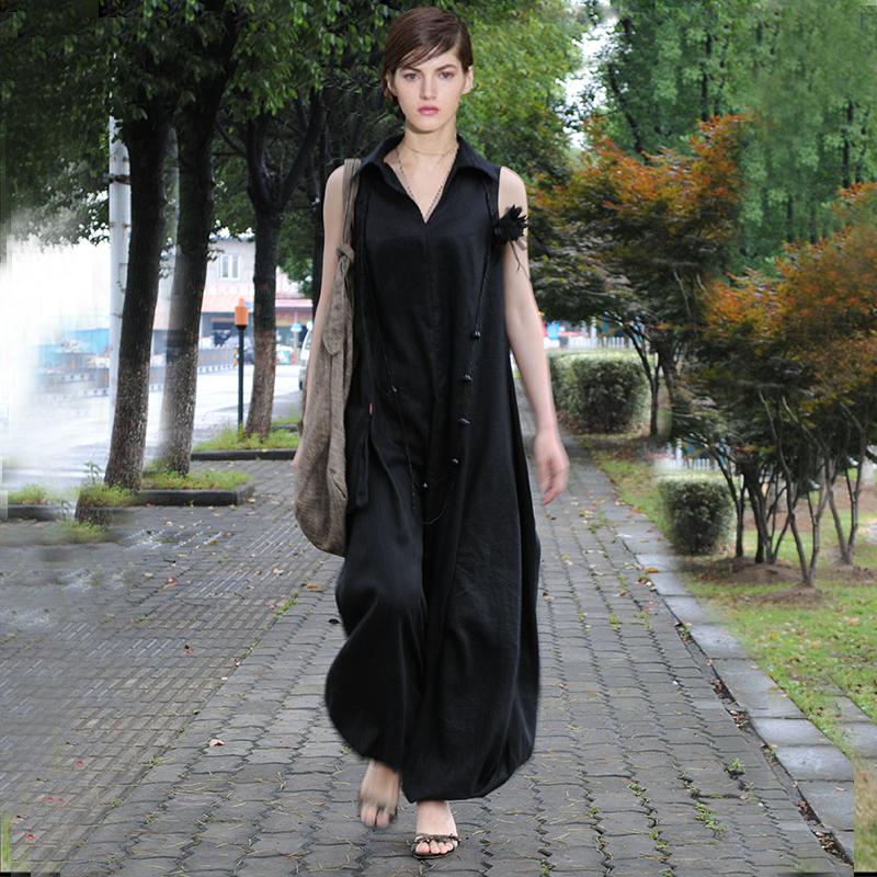 素色连衣裙2020新款女夏藏肉显瘦连体裤气质简约无袖宽松亚麻长裙