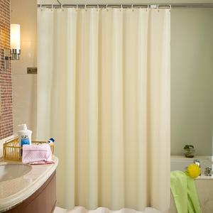 纯色卫生间浴帘套装 免打孔防水加厚防霉浴室窗帘布隔断淋浴帘子