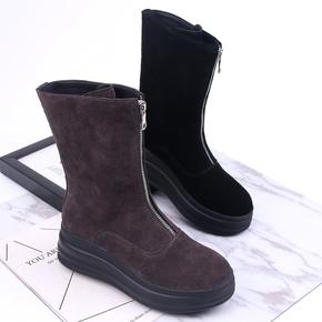 欧洲站中筒靴2021秋冬新款女鞋磨砂真皮松糕厚底马丁靴百搭短靴潮