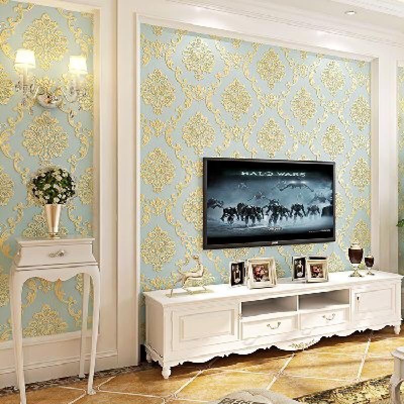 特惠家装主材北欧美无纺布墙壁纸加厚3d立体大马士革卧室客厅背景