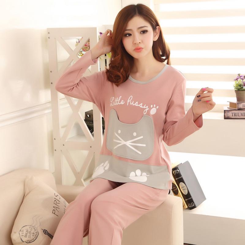 Каждый день специальное предложение корейский весенний и осенний сезон. хлопок мисс пижама с длинными рукавами и длинные брюки женщины хлопок осень и зима домой костюм