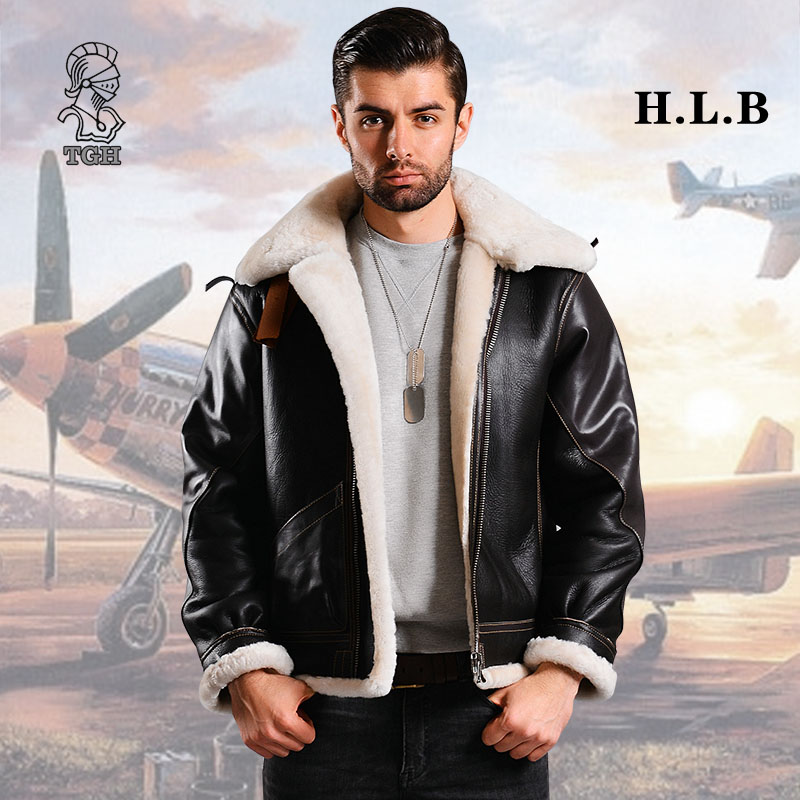 Buttons Retro B3 fur all in one flying fur coat mens winter hunting suit locomotive coat air force jacket