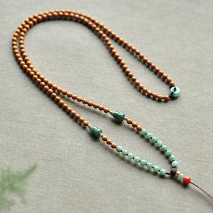 「墨葫蘆」3.5mm 橄欖核 翡翠配和田玉器項鍊掛繩高檔毛衣鏈SG111