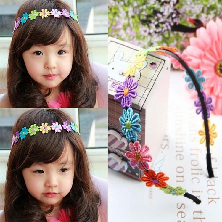 满6.00元可用1.2元优惠券儿童发箍头饰品韩国公主可爱布艺刺绣花朵发卡宝宝全包布花环头箍