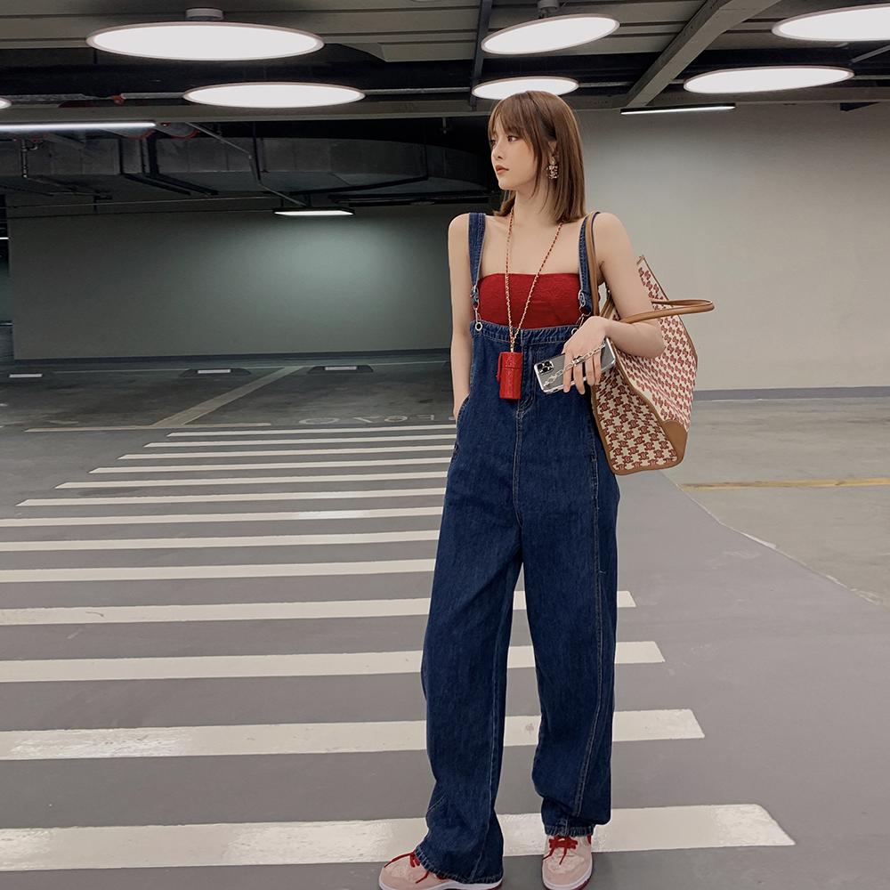 Alice W花花家减龄连身裤2021新款可拆卸牛仔背带裤阔腿拖地长裤