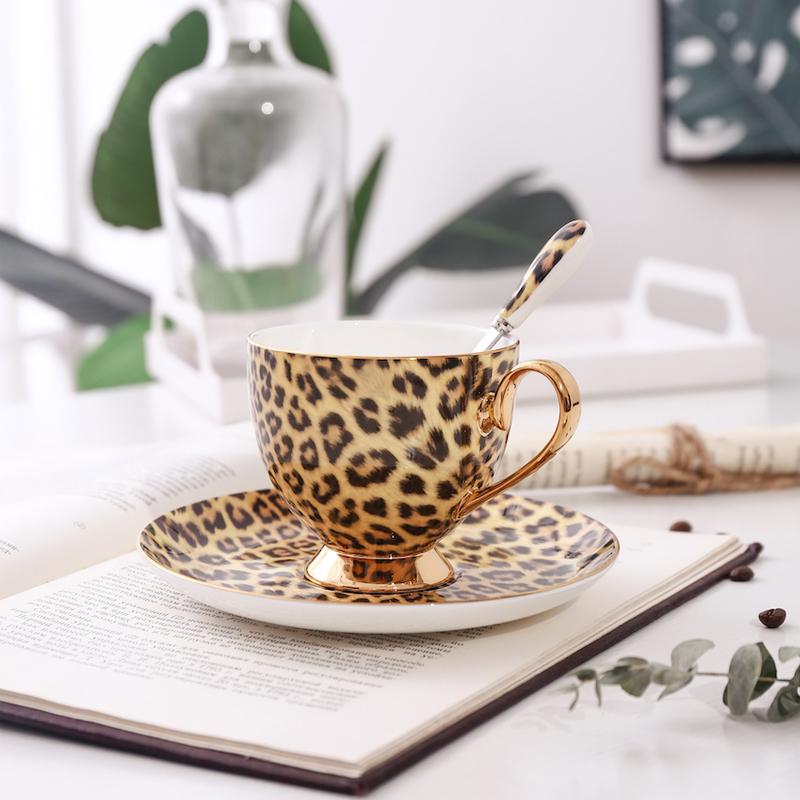 爱莉卡贝叶  豹纹镀金咖啡杯骨瓷杯碟套装宫廷风下午茶陶瓷杯碟淘宝优惠券