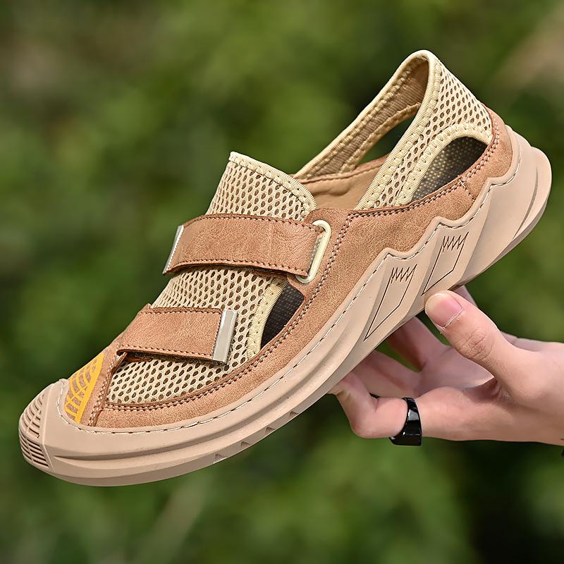 大码户外凉鞋包头沙滩鞋男式凉鞋网面透气溯溪手工休闲鞋