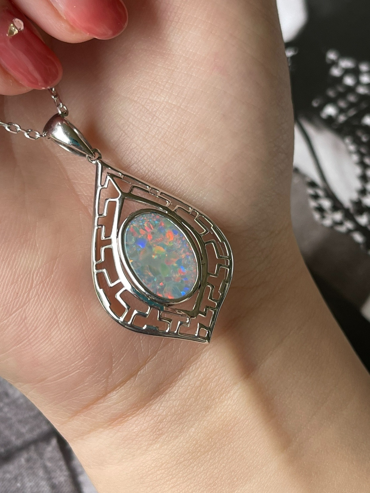 Fire color black opal gem pendant red black opal opal necklace opal jewelry Australia