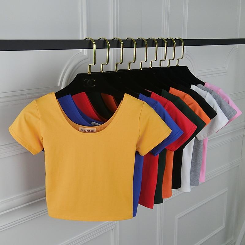 韩版纯棉紧身露脐短袖女t恤修身高腰短款上衣漏肚脐小衫短装体恤