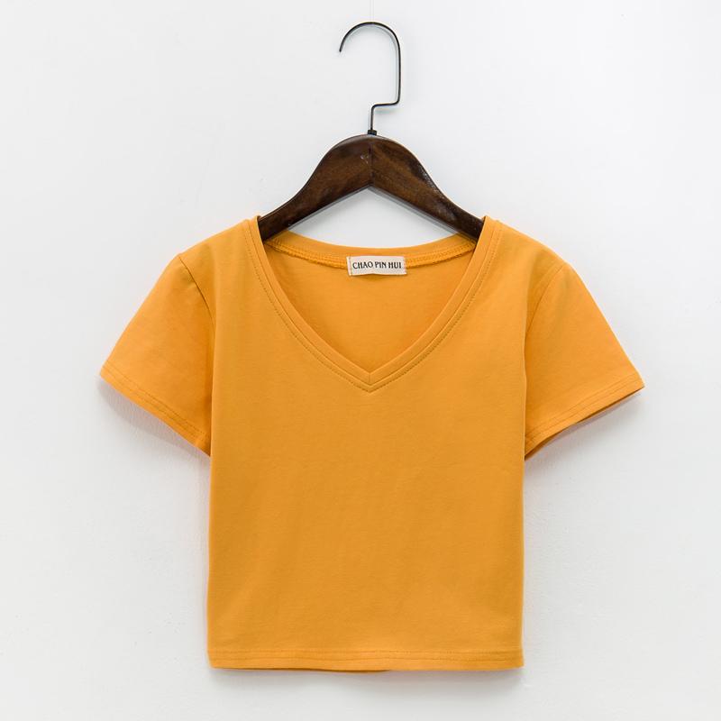露脐女短袖v领漏肚脐纯棉韩版t恤