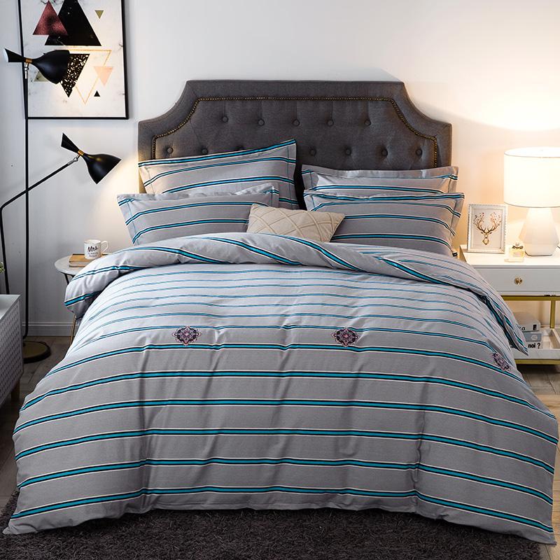 (用198元券)水星家纺磨毛四件套纯棉加厚1.8m床单被套秋冬全棉单人床上三件套