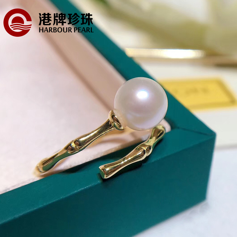 Hong Kong Pearl round freshwater pearl versatile 925 Sterling Silver slub ring with adjustable size and simple personality