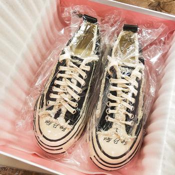 超火的做旧休闲厚底松糕网红帆布鞋