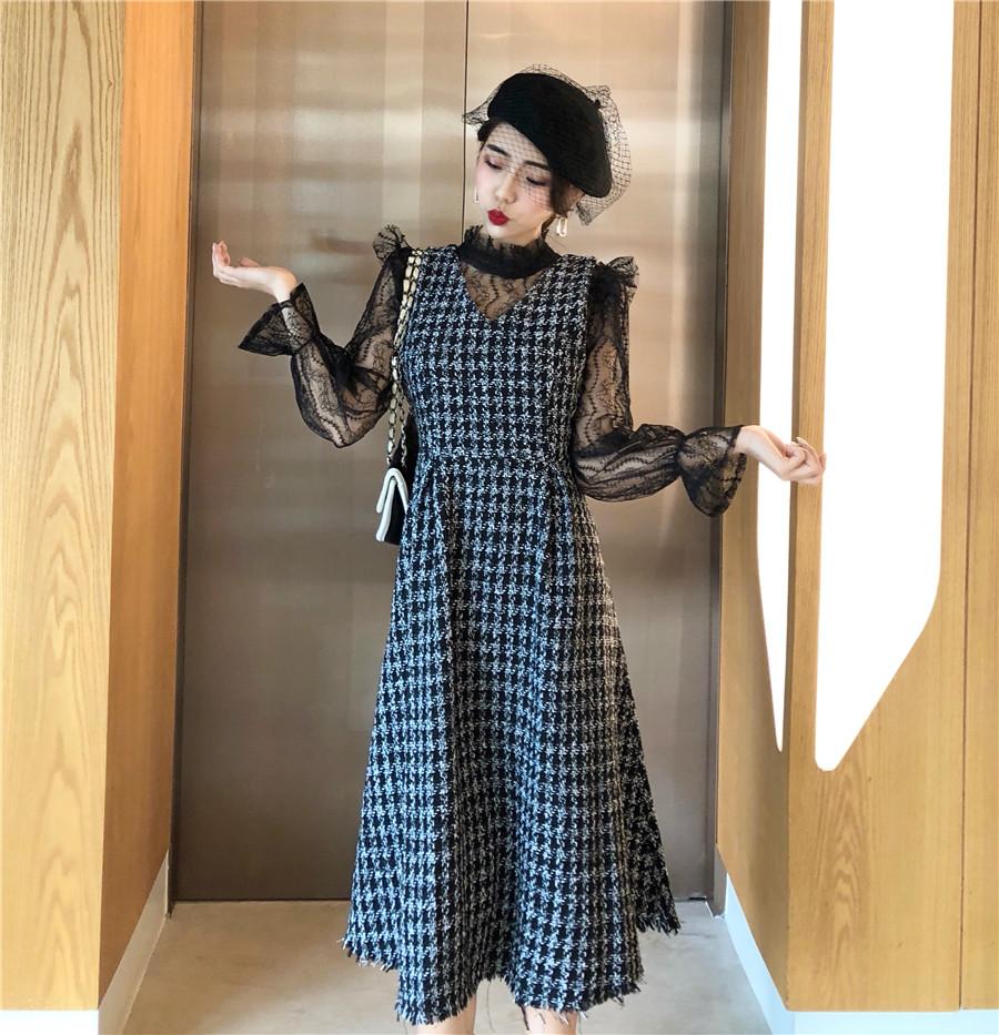 實拍實價 韓版內搭蕾絲+格子呢背帶連衣裙兩件套