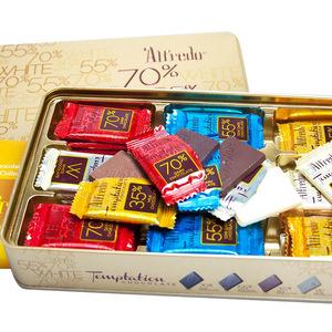 领3元券购买马来西亚进口 Alfredo爱芙金色薄片巧克力礼盒 休闲办公零食160g