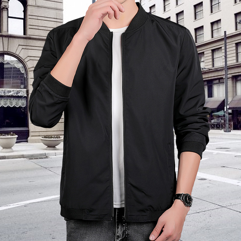 Spring and autumn sports jacket mens thin youth standing collar Baseball Shirt slim fit large cardigan coat casual sports top