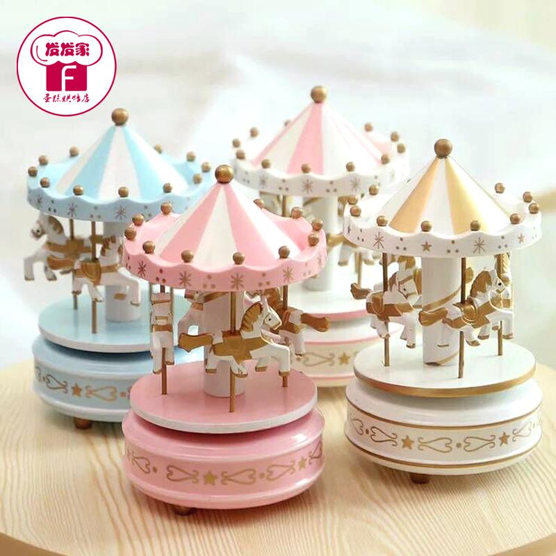 生日蛋糕裝飾用品擺件 旋轉木馬音樂盒蛋糕裝飾品 帶音樂