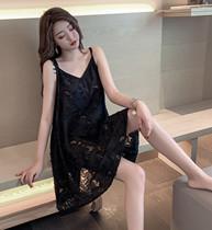 新品吊带睡裙微透蕾丝纱线胖MM睡裙大码女士夏季性感棉睡衣家居服