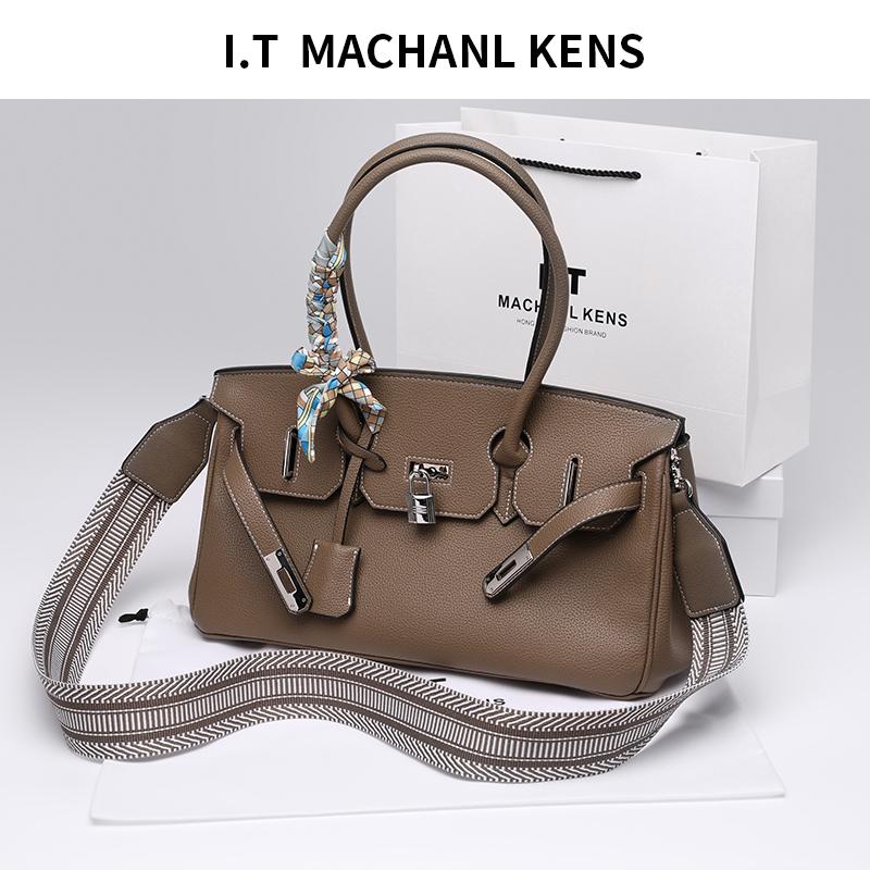 香港MACHANL KENS 2020新款荔枝纹铂金包真皮凯利包单肩手提大包