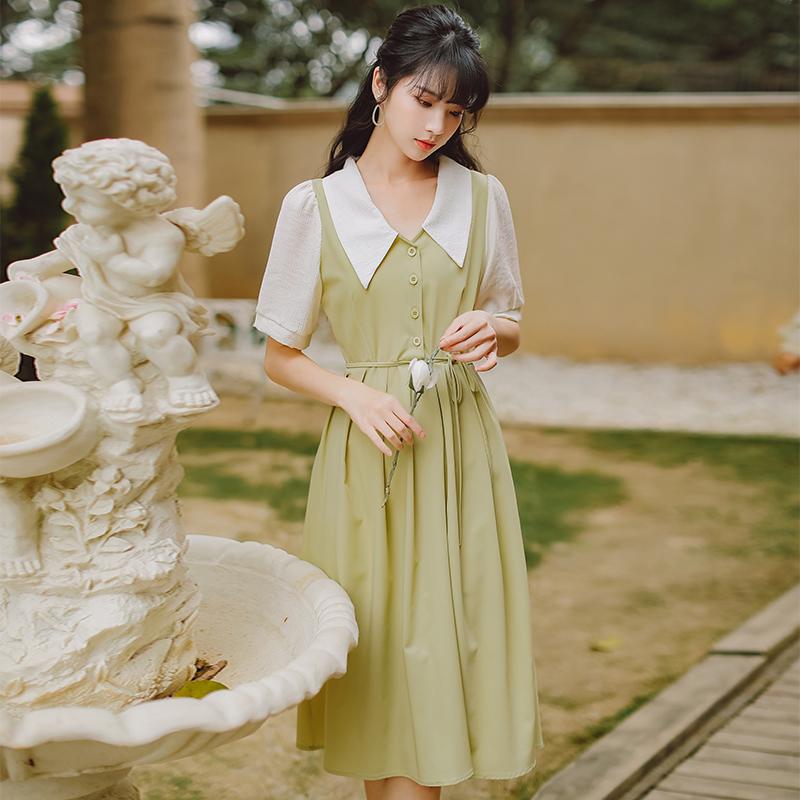 实拍售价不低于109~法式小清新气质显瘦遮肉翻领桔梗裙连衣裙