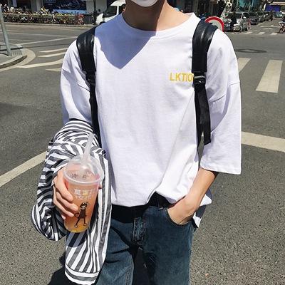 GF01*P40特 夏季港风新品 男士青少年学生五分宽松大码短袖T恤衫