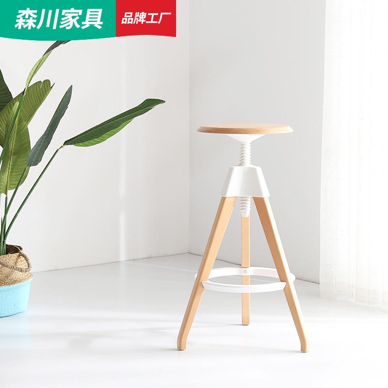 森川现代简约欧式实木圆形旋转升降创意设计高脚凳吧椅酒吧椅吧凳