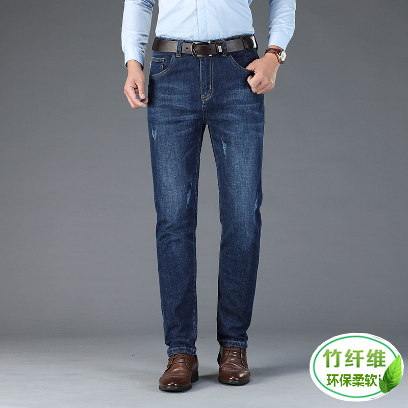 New elastic mens jeans in autumn and winter