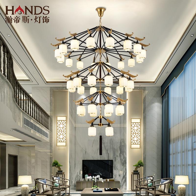 新中式復式樓大吊燈酒店大堂定制中國風別墅樓中樓客廳樓梯長吊燈