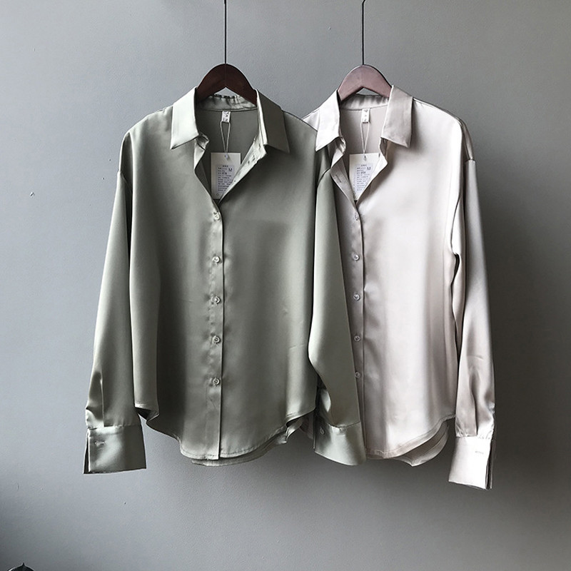Spring 2020 cool wind shirt womens design sense minority top high quality NiY Silk Satin Chiffon shirt
