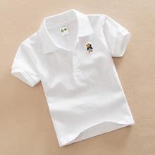 儿童白色T恤男童夏装女童红色打底衫纯棉翻领上衣宝宝短袖班服