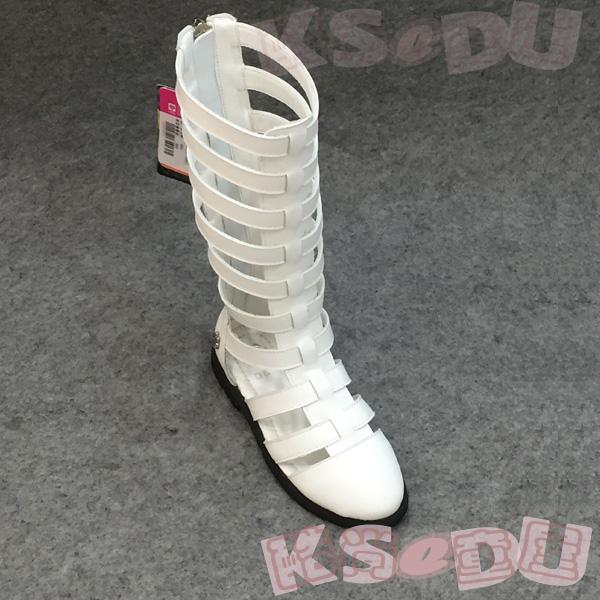 ドラえもんファッションニット皮革ブーツ女性用ブーツバッグトップサンダル