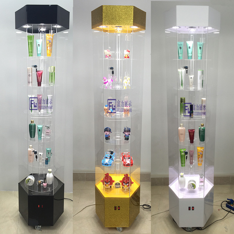Fine jewelry cosmetics rotating display cabinet digital product display cabinet jewelry acrylic porcelain cabinet
