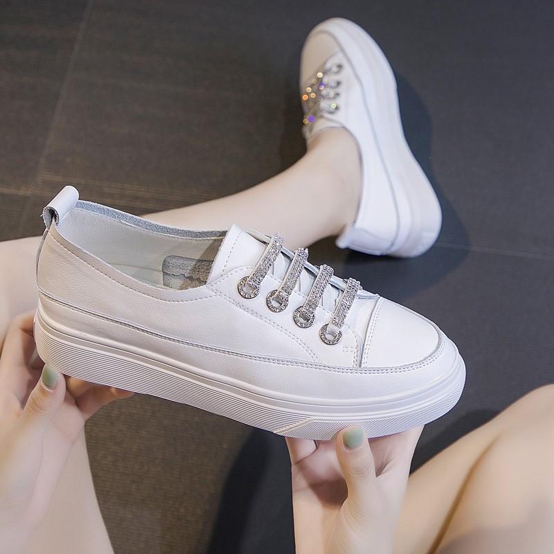 基础百搭厚底浅口水钻小白鞋女2019夏款真皮平底休闲牛皮板鞋单鞋