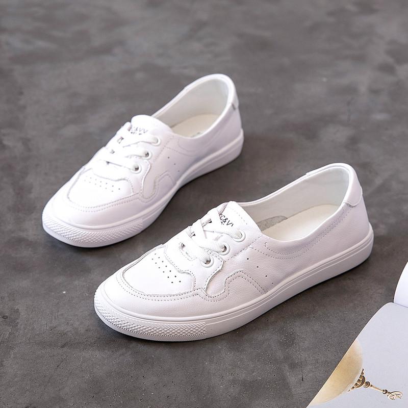 CCVV浅口小白鞋女2019夏季新款单鞋真皮透气低帮圆头套脚牛皮板鞋