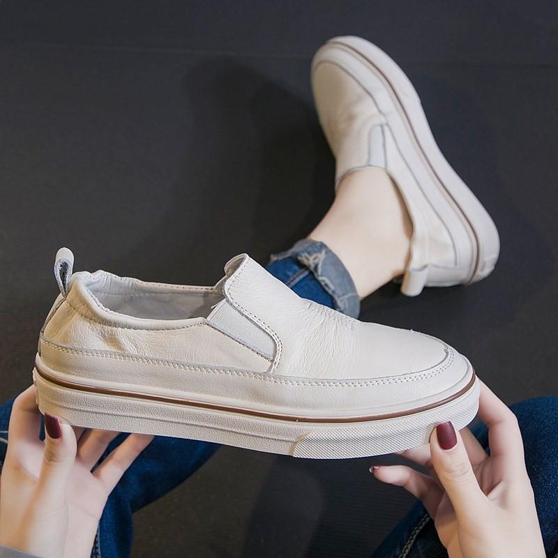 欧洲站小众女鞋真皮透气一脚套小白鞋女2019春款懒人休闲牛皮板鞋12-02新券