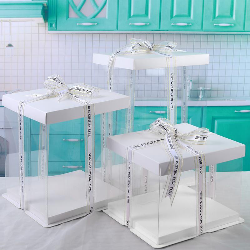 纸盖三合一蛋糕盒4/6/8/10/12/14寸单双层加高透明生日蛋糕盒