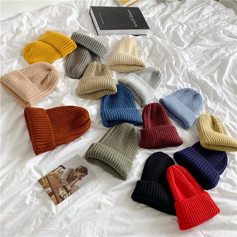 韩国秋冬季学生百搭纯色针织毛线帽子ins风男女保暖网红雅痞冷帽