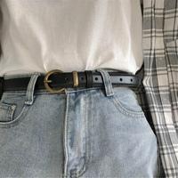 做舊復古皮帶女簡約百搭韓國版學生黑色潮流時尚個性小褲腰帶男細