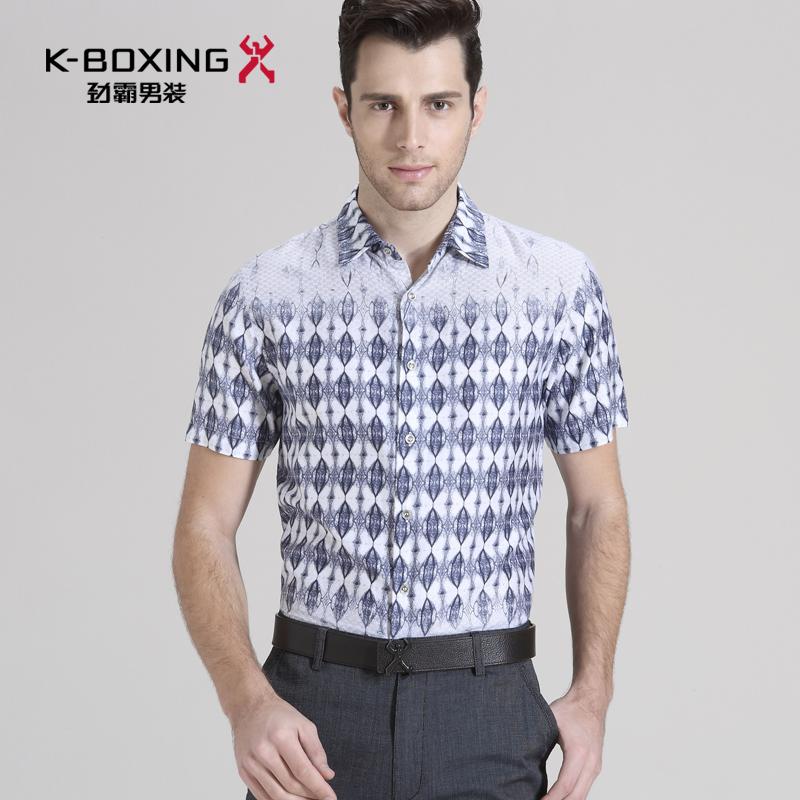 劲霸男装夏季短袖衬衫 印花男衬衣修身休闲短袖衬衫男|BDCU2214