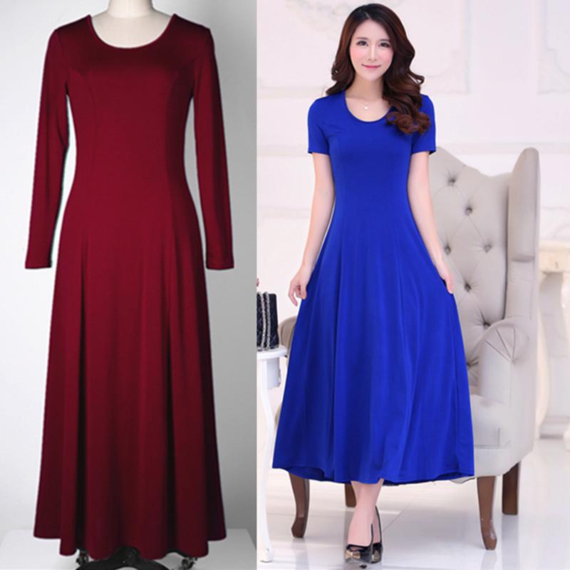 连衣裙纯色修身显瘦优雅长裙