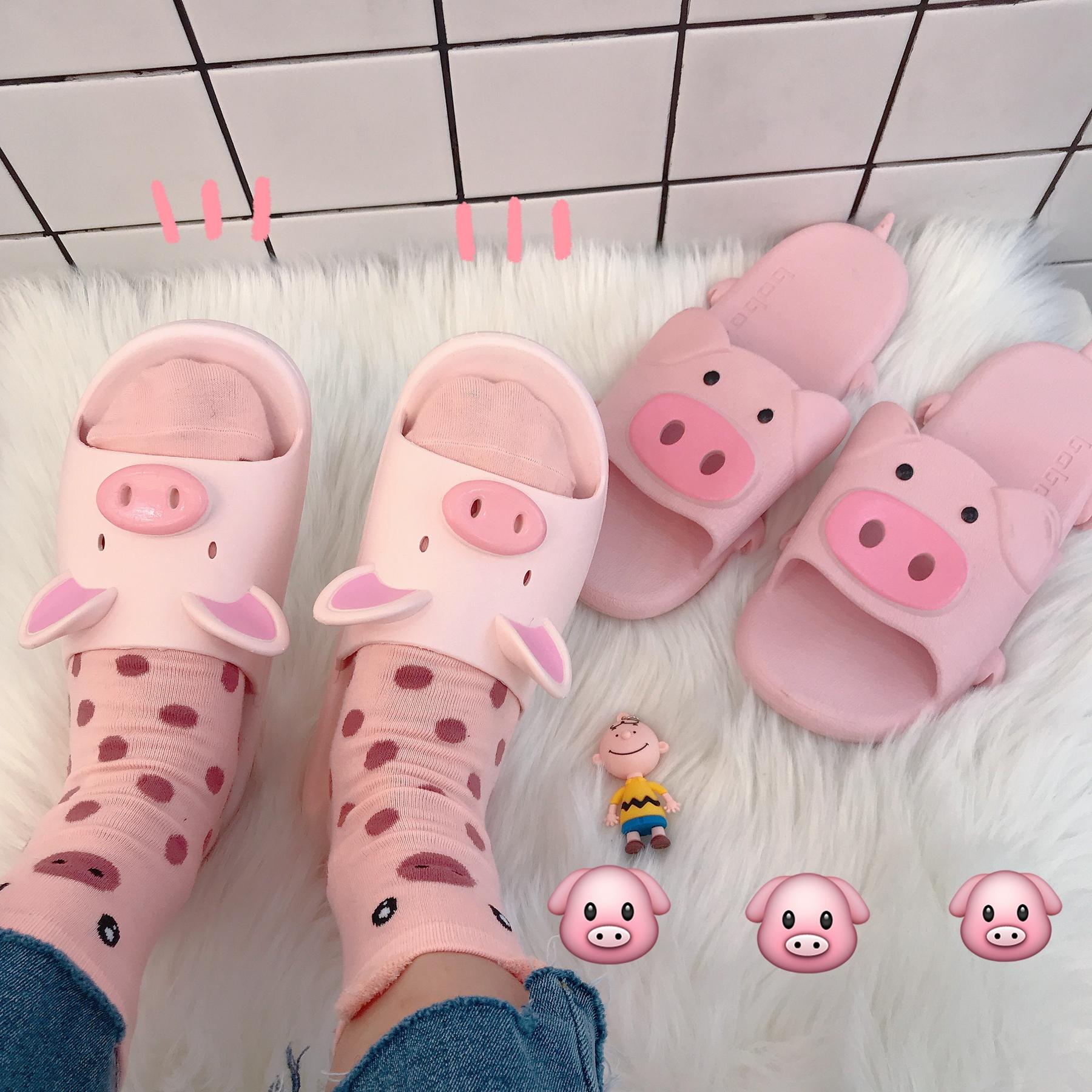 韩风可爱粉色小猪拖鞋居家少女夏室内外穿防滑橡胶洗澡凉拖鞋ins
