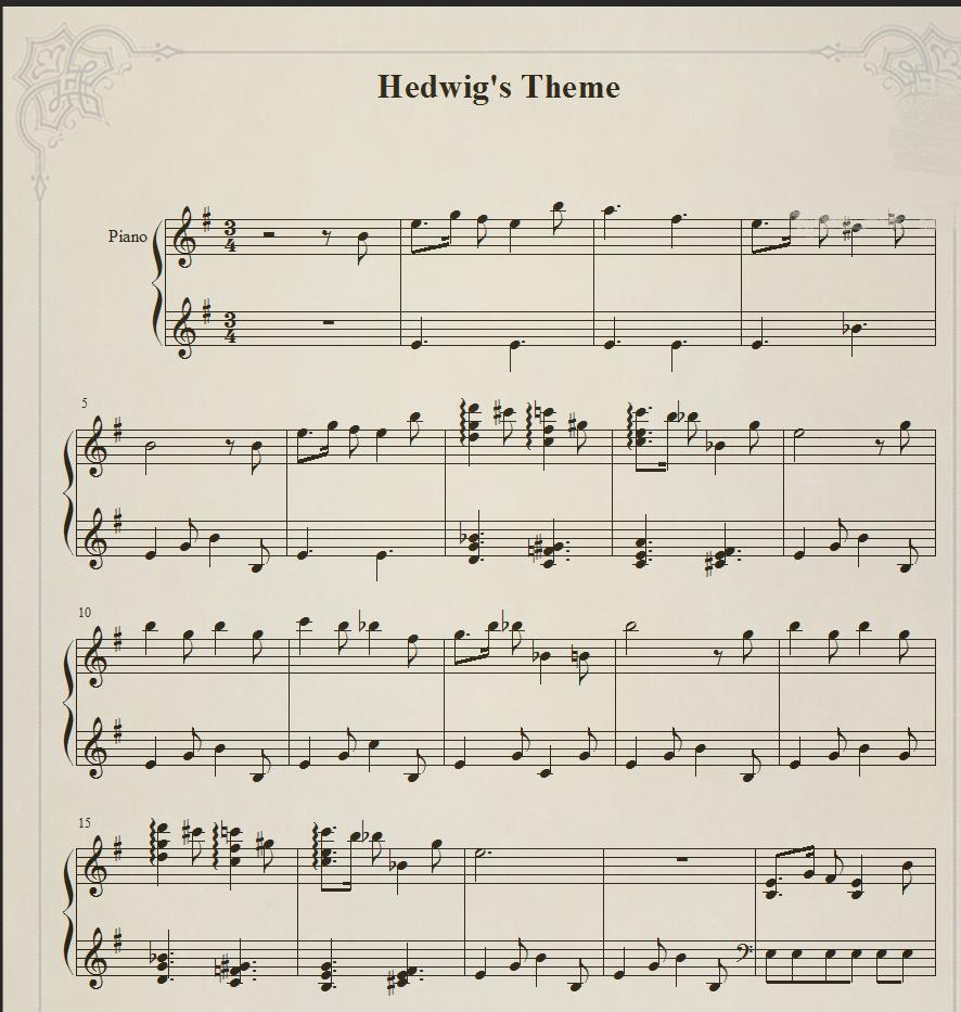 Hedwig's' Them哈利波特主题曲Patrik Pietschmann钢琴谱可试听
