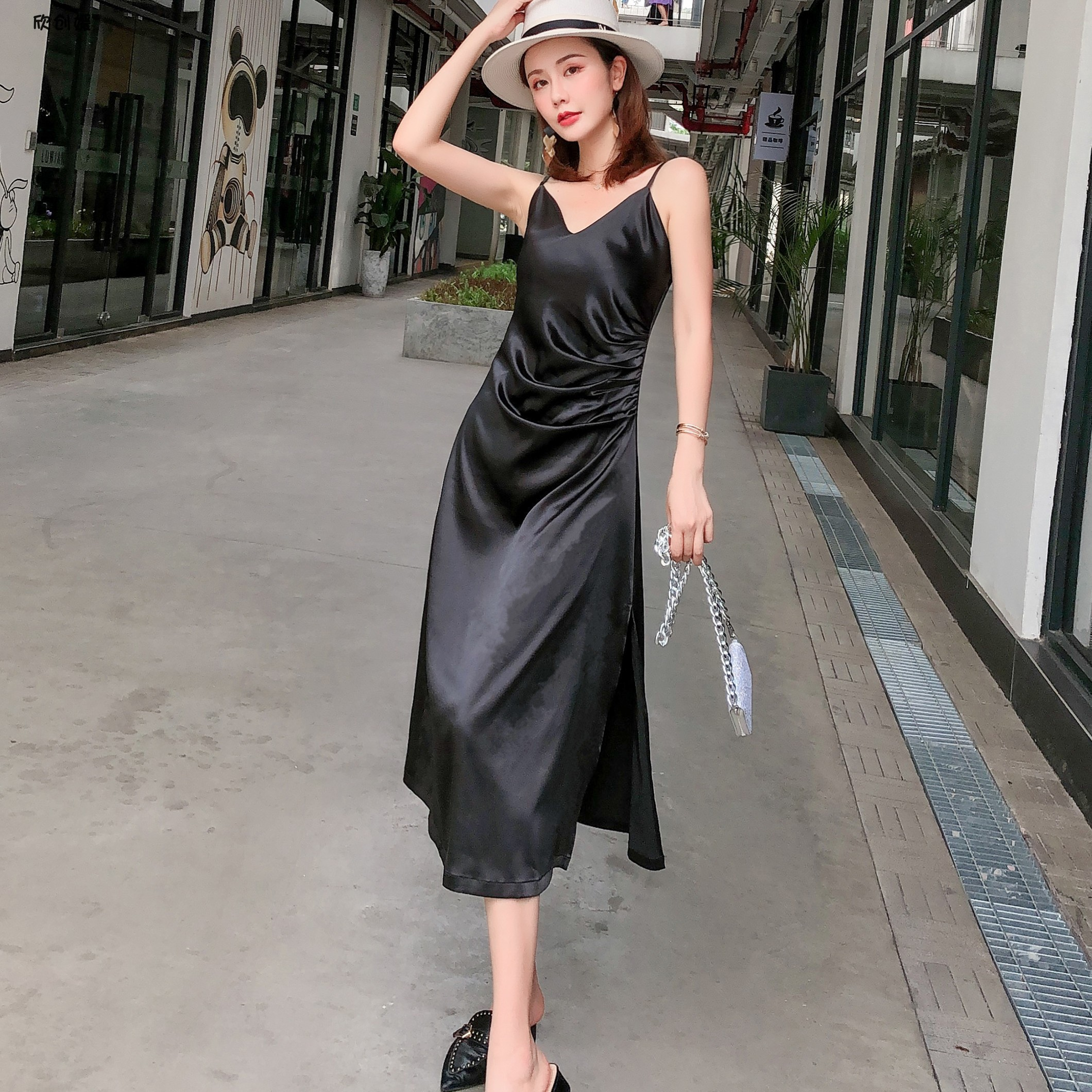 Bright Satin collarbone SLING DRESS 2020 New Summer Black silky Satin pleated strapless dress